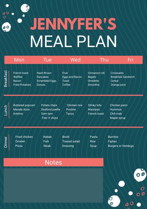 Custom Weekly Meal Planner