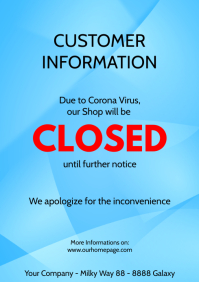 Customer Information Closed Store Shop Corona