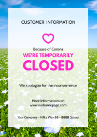 Customer information Poster flyer closed