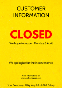 Customer information Poster flyer closed corona