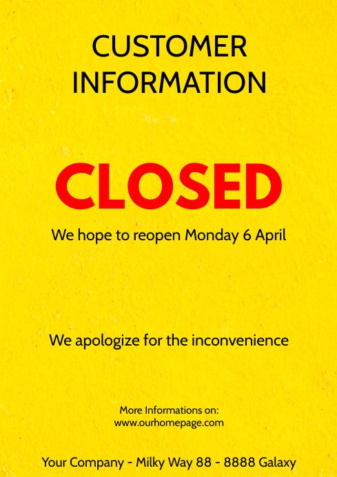 Customer information Poster flyer closed corona