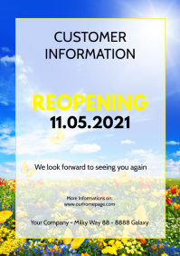 Customer information Poster flyer reopening