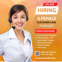 Customer Service Care manager hiring social m Square (1:1) template