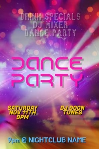 Customize This Dance Party Club DJ Poster template