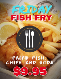 Customize this fish fry fried fish flyer template