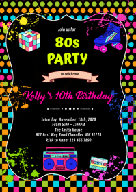 Cute 80s party birthday Invitation A6 template