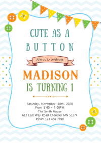 Cute as button birthday invitation