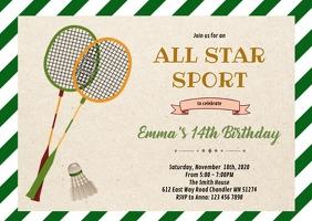 Cute badminton party Invitation A6 template