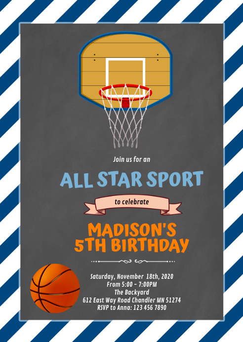 Cute basketball invitation A6 template