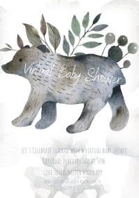 Cute Bear Virtual Baby Shower Invitation A4 template
