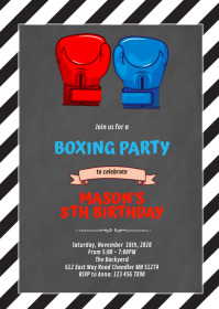 Cute boxing party invitation A6 template
