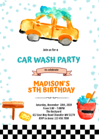 Cute car wash party invitation A6 template