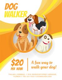 Cute Cartoony Dog Walking Flyer Design
