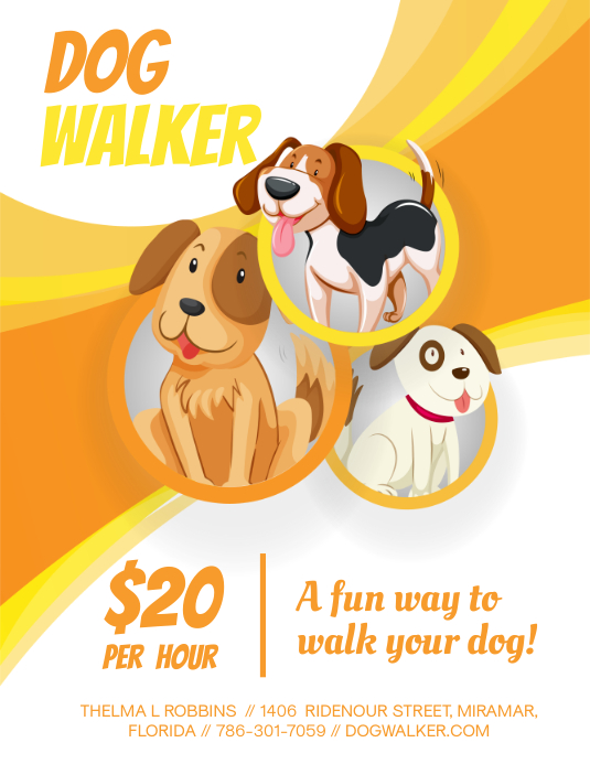 Cute Cartoony Dog Walking Flyer Design
