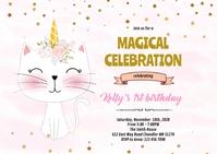 Cute cat unicorn party invitation A6 template