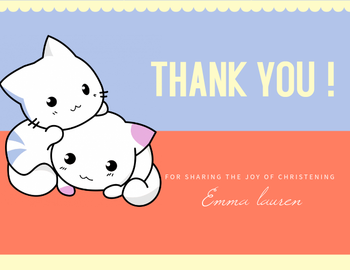 cute christening thank you card template postermywall