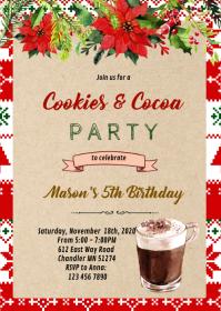 Cute christmas cocoa party invitation A6 template