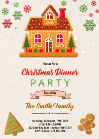Cute Christmas gingerbread party Invitation