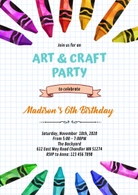 Cute crayon party theme invitation A6 template