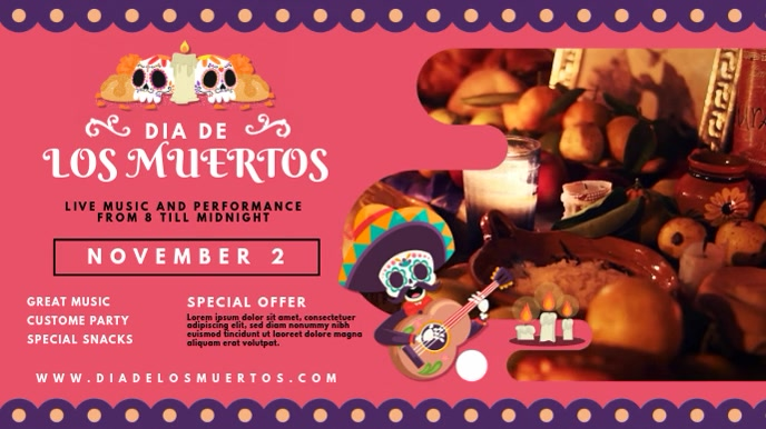 Cute Dia de los Muertos Digital Display Video template