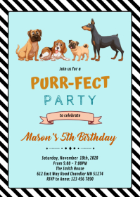 Cute dog birthday party invitation A6 template