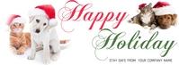 Cute Dog Cat Merry Christmas Facebook Banner template