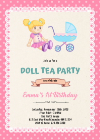 Cute doll party theme invitation A6 template