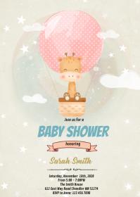 Cute giraffe shower theme invitation A6 template