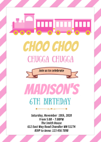 Cute girl train theme party invitation