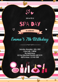 Cute glamour birthday party invitation A6 template