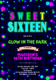 Cute glow 16 birthday party invitation A6 template