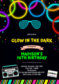 Cute glow 80s party birthday invitation A6 template