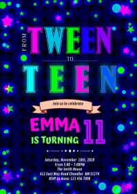 Cute glow tween to teen invitation A6 template