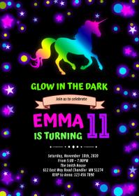 Cute glow unicorn party invitation A6 template