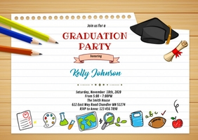 Cute graduation party Invitation A6 template