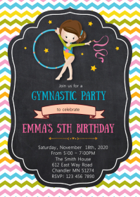 Cute Gymnastic birthday party invitation