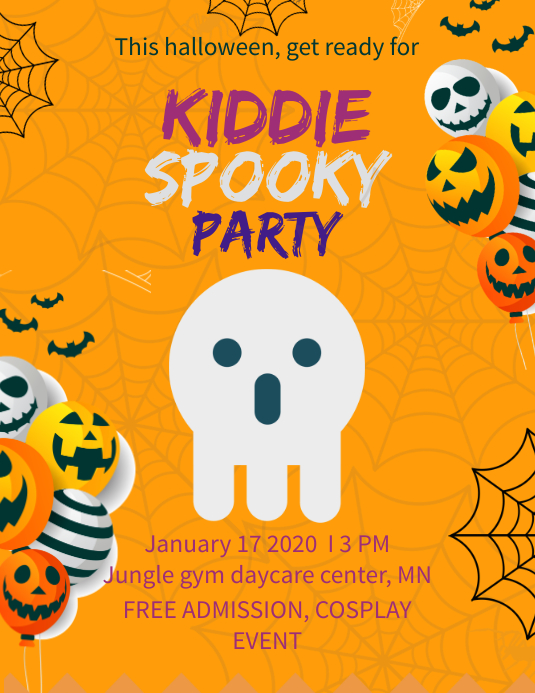 Cute Halloween Kids Party Poster Template Volantino (US Letter)
