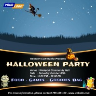 Cute Halloween Party Invitation Сообщение Instagram template