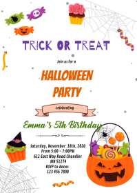 Cute Halloween witch party Invitation A6 template