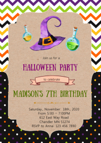 Cute Halloween witch party Invitation