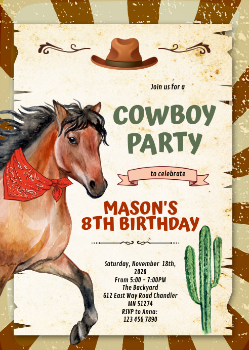 Cute horse pony theme party Invitation A6 template