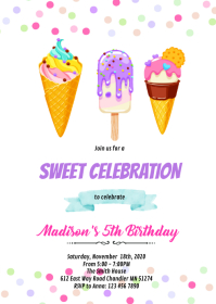 Cute ice cream birthday invitation A6 template