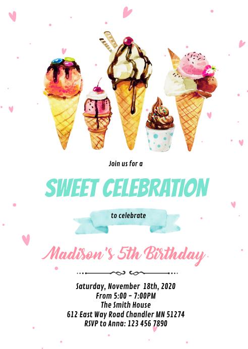 Cute ice cream party invitation A6 template