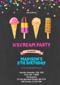Cute ice cream party invitation A6 template