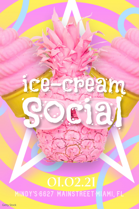 Cute Ice Cream Sale Poster Ad template