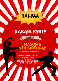 Cute karate boy party invitation A6 template