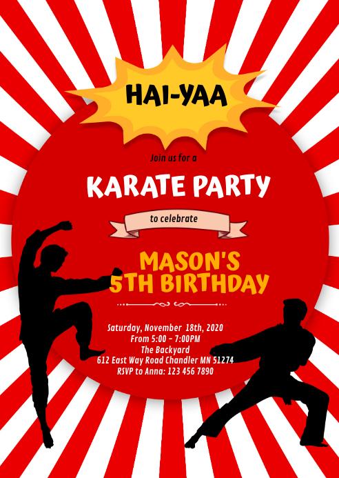 Cute karate boy party invitation A6 template
