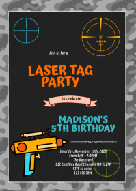 Cute laser tag dart birthday invite A6 template