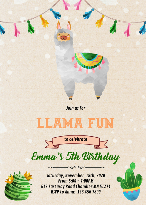 Cute llama birthday Invitation A6 template