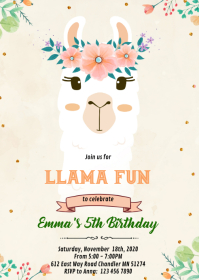 Cute llama face birthday Invitation A6 template